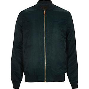 Dark green casual bomber jacket