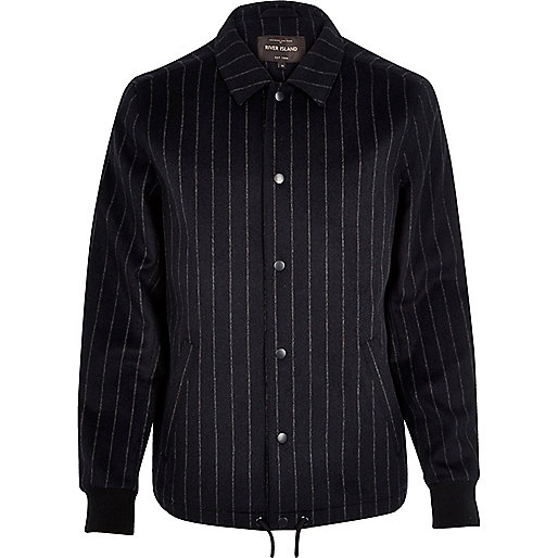 Navy pinstripe wool-blend coach jacket