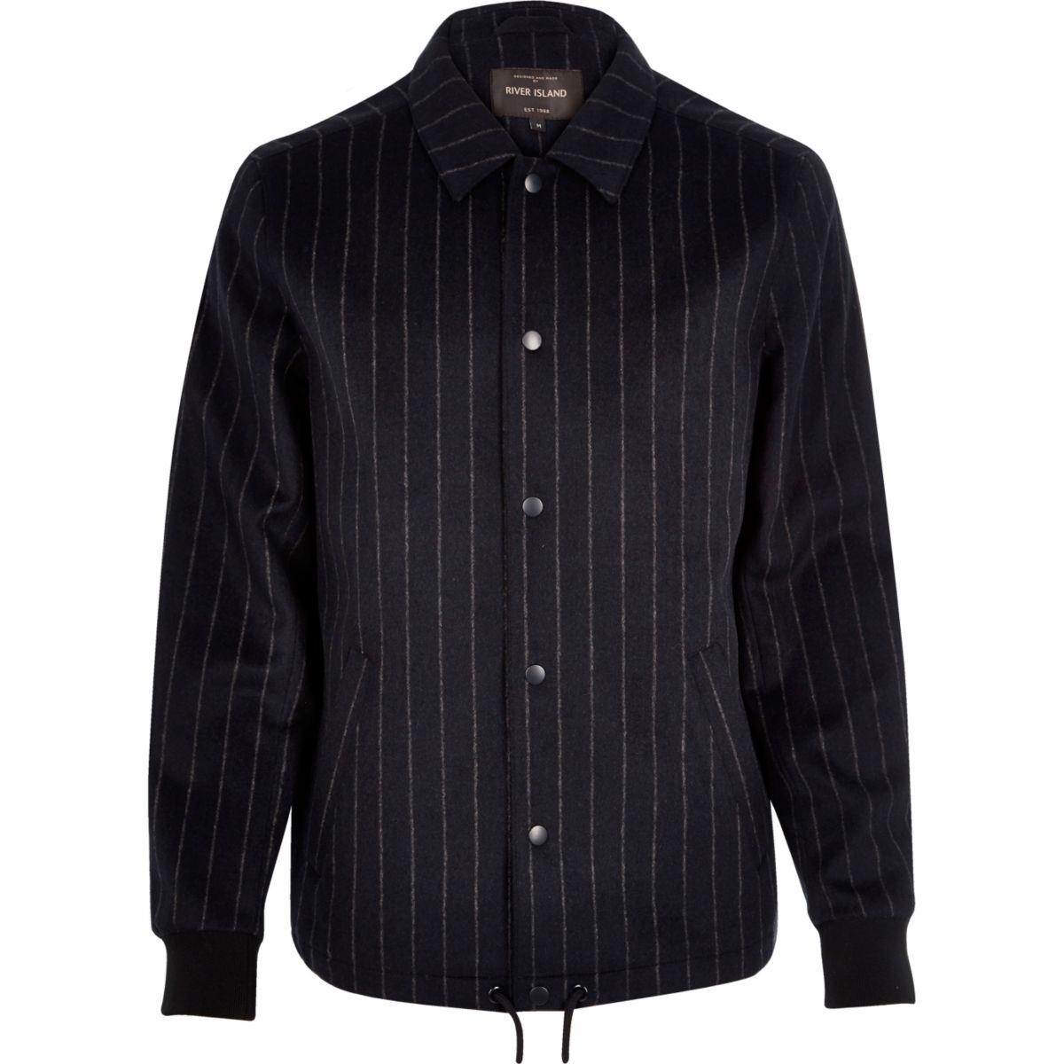 Navy pinstripe wool-blend coach jacket