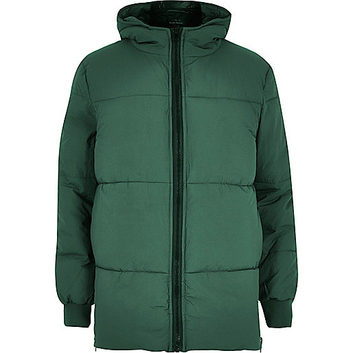 Green quilted puffer winter coat