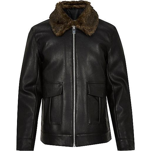 Black leather look zip-up jacket