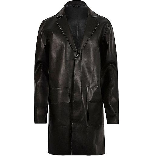Black leather look overcoat