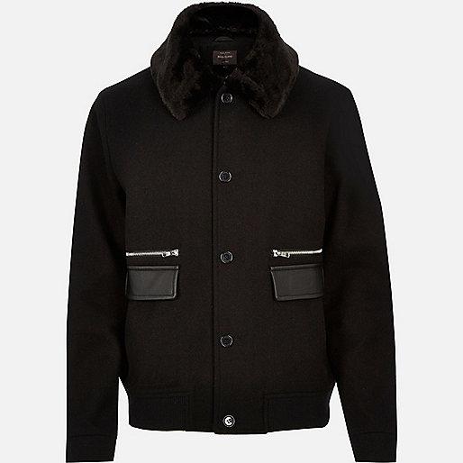 Black wool-blend smart winter jacket