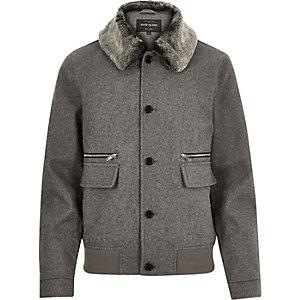 Grey boxy faux fur collar jacket