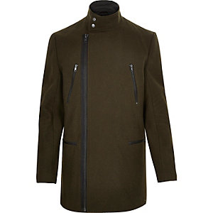 Green smart wool-blend winter coat