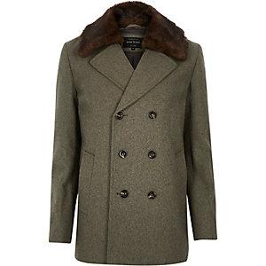 Ecru wool-blend faux-fursmart pea coat