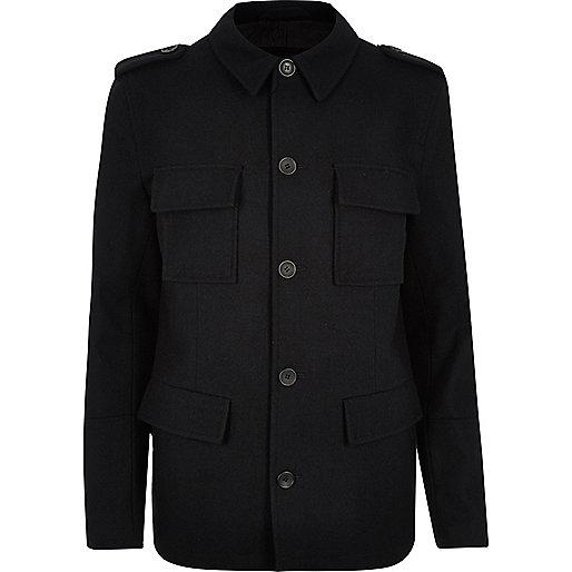 Navy wool-blend smart military coat