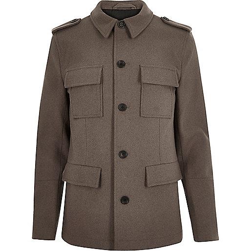 Grey wool-blend smart military coat