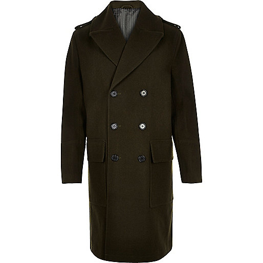 Khaki military double breasted winter coat