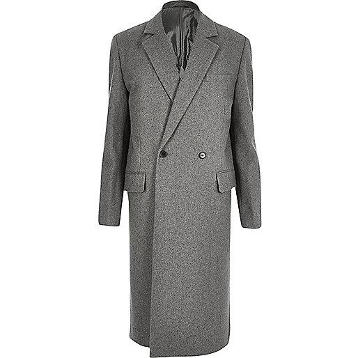 Grey wool-blend smart overcoat