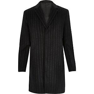 Navy smart pinstripe wool-blend coat