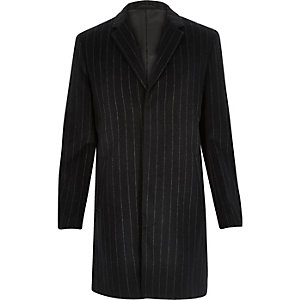 Navy smart pinstripe wool-blend coat