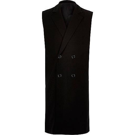 Black smart double breasted sleeveless jacket