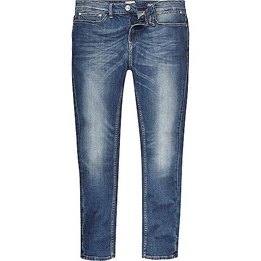 Sid – Jean skinny stretch bleu à délavage moyen