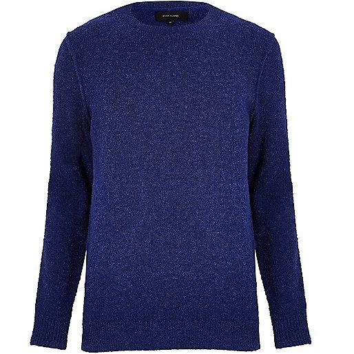 Dark blue bouclé jumper