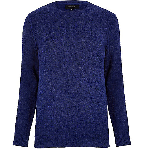 Dark blue bouclé sweater