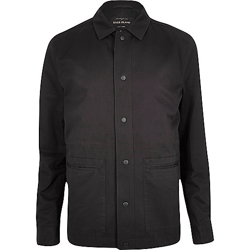 Grey casual minimal worker jacket