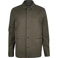 Khaki green casual minimal worker jacket