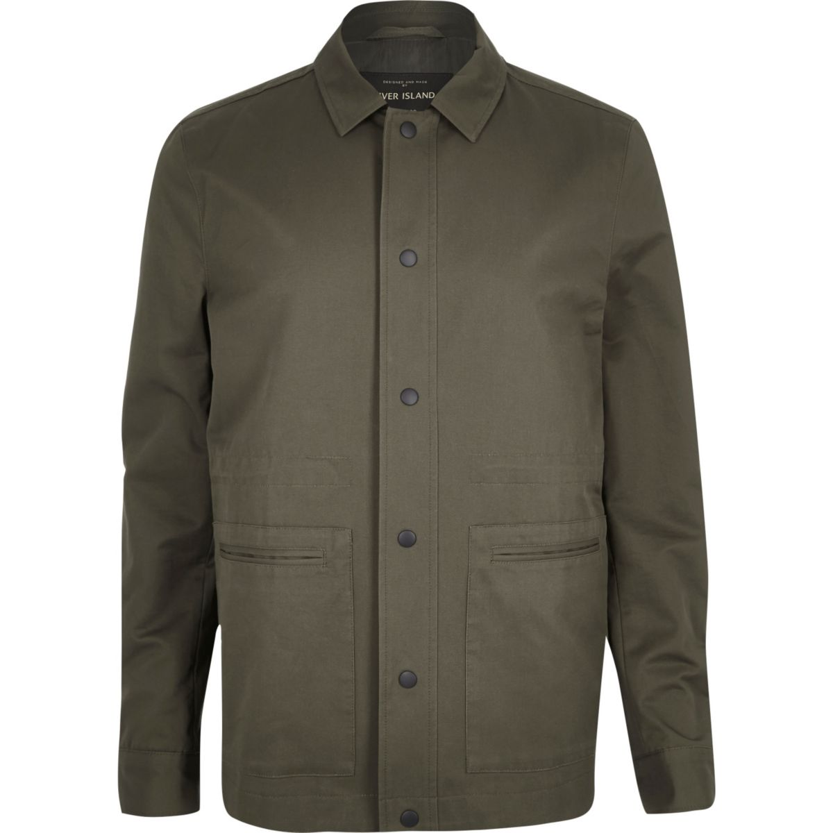 Khaki green casual minimal worker jacket
