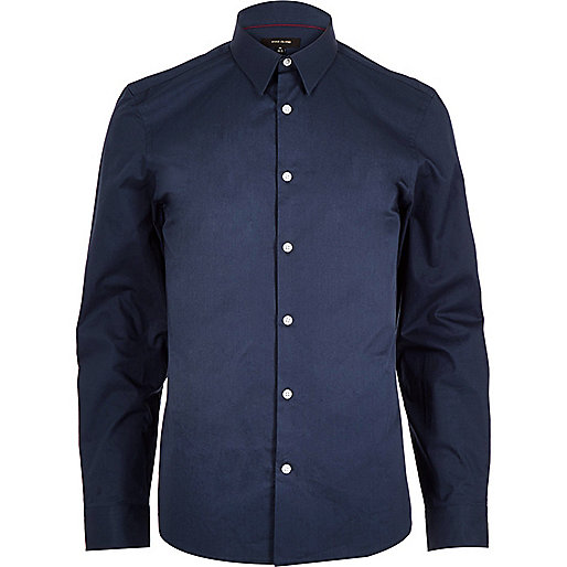 Navy twill slim fit shirt