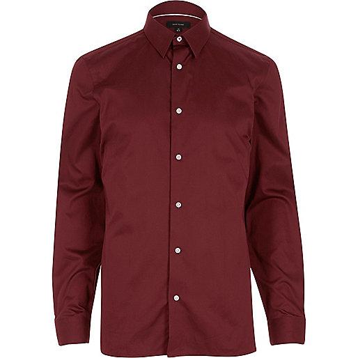 Burgundy twill slim fit shirt
