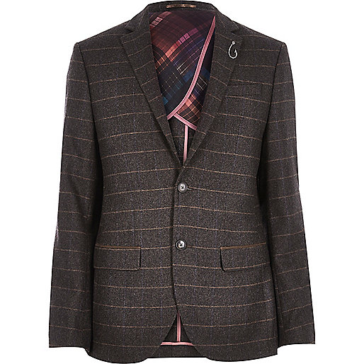 Brown check wool-blend slim blazer