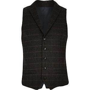 Brown check wool-blend slim waistcoat