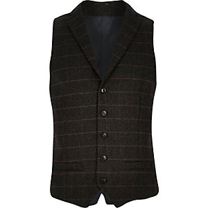 Brown check wool-blend slim vest