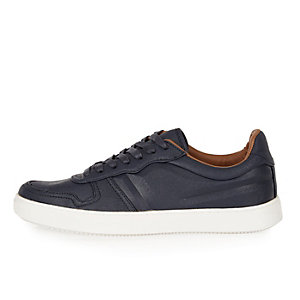 Navy lace-up sneakers