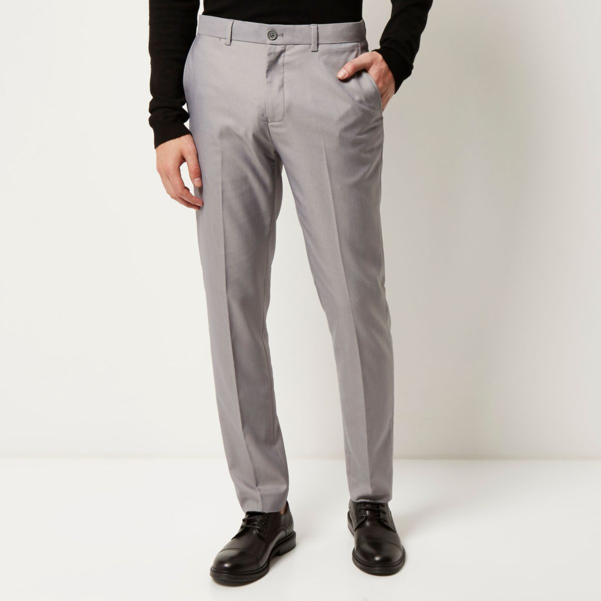Grey smart slim trousers