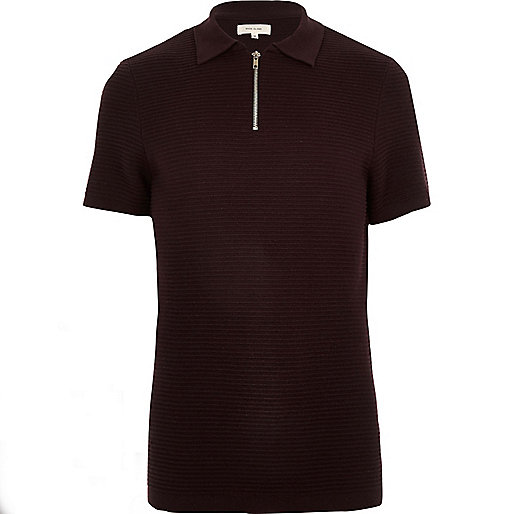 Dark purple textured zip up polo shirt