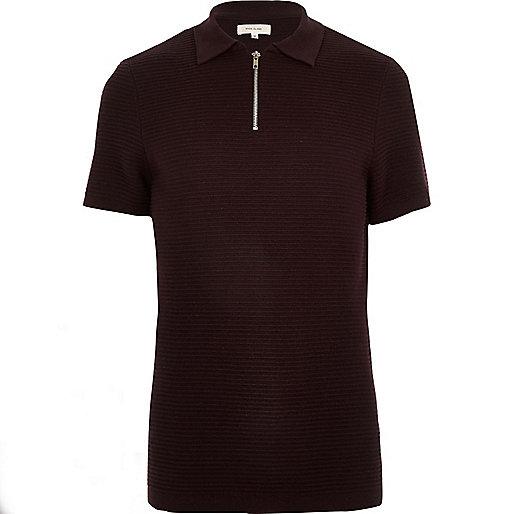 Dark purple textured zip up polo shirt