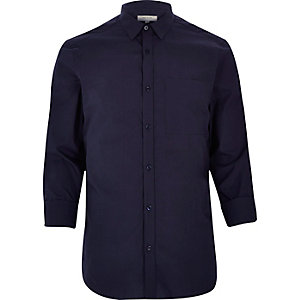 Navy blue smart cotton shirt
