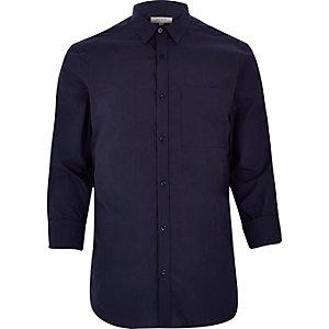 Chemise en coton habillée bleu marine