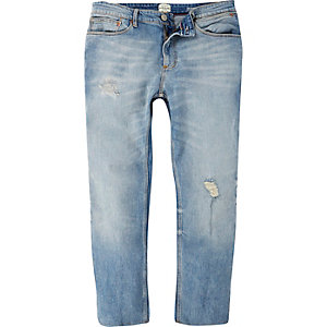 Light wash ripped Sid skinny cropped jeans