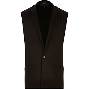 Black tailored sleeveless blazer