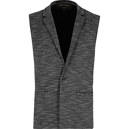 Grey tailored sleeveless blazer