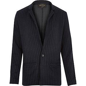 Navy pinstripe slim blazer