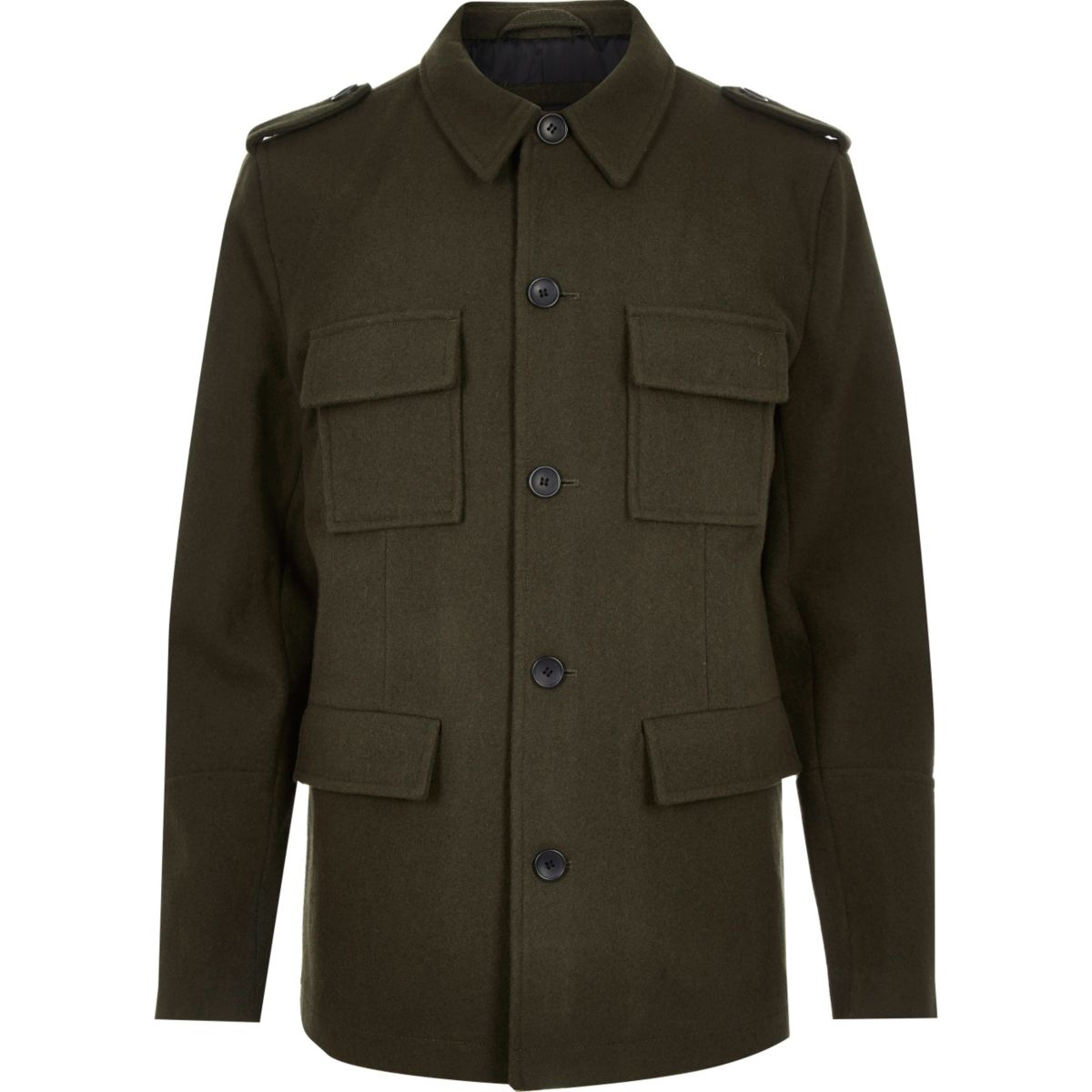 Green smart wool-blend military jacket