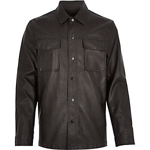 Dark brown leather look shirt jacket
