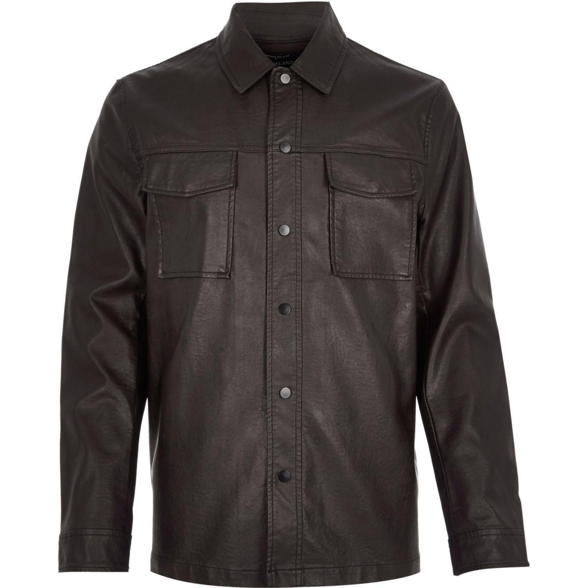 Dark brown leather look shirt jacket
