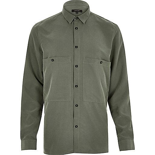 Khaki slinky minimal shirt