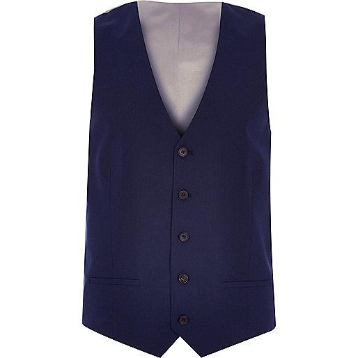 Gilet cintré bleu marine habillé