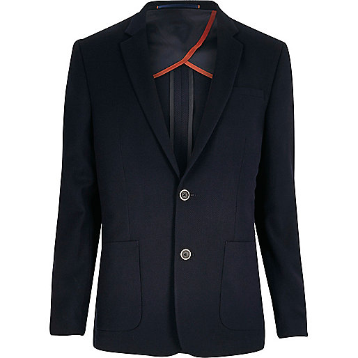 Navy textured slim blazer