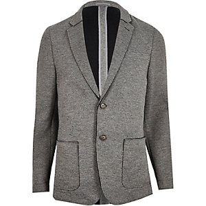 Grey raw edge slim blazer