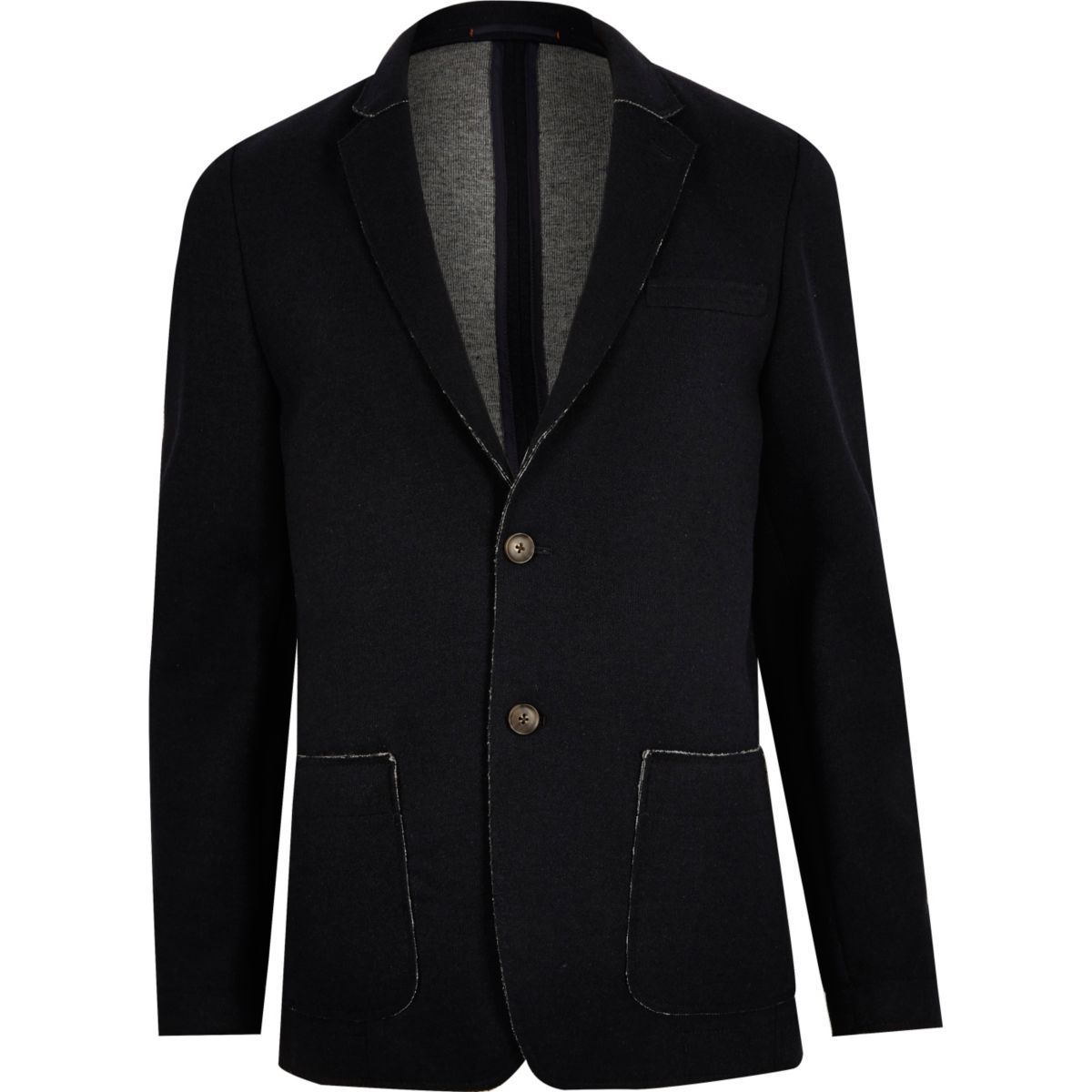 Navy raw edge slim blazer
