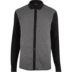 Black textured jacquard shirt