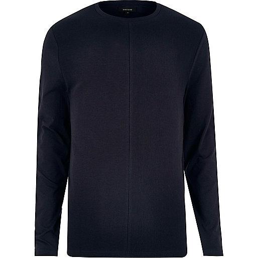 Navy textured block sweatshirt