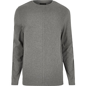 Grey textured block sweatshirt