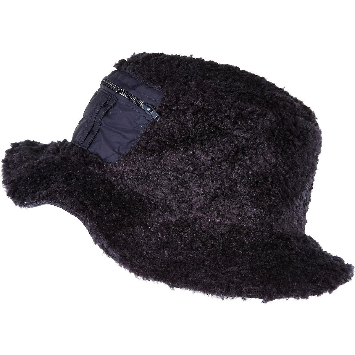 Navy Christopher Shannon faux fur bucket hat